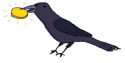 Fig 2.2.4. ilustrasi burung mengambil koin emas